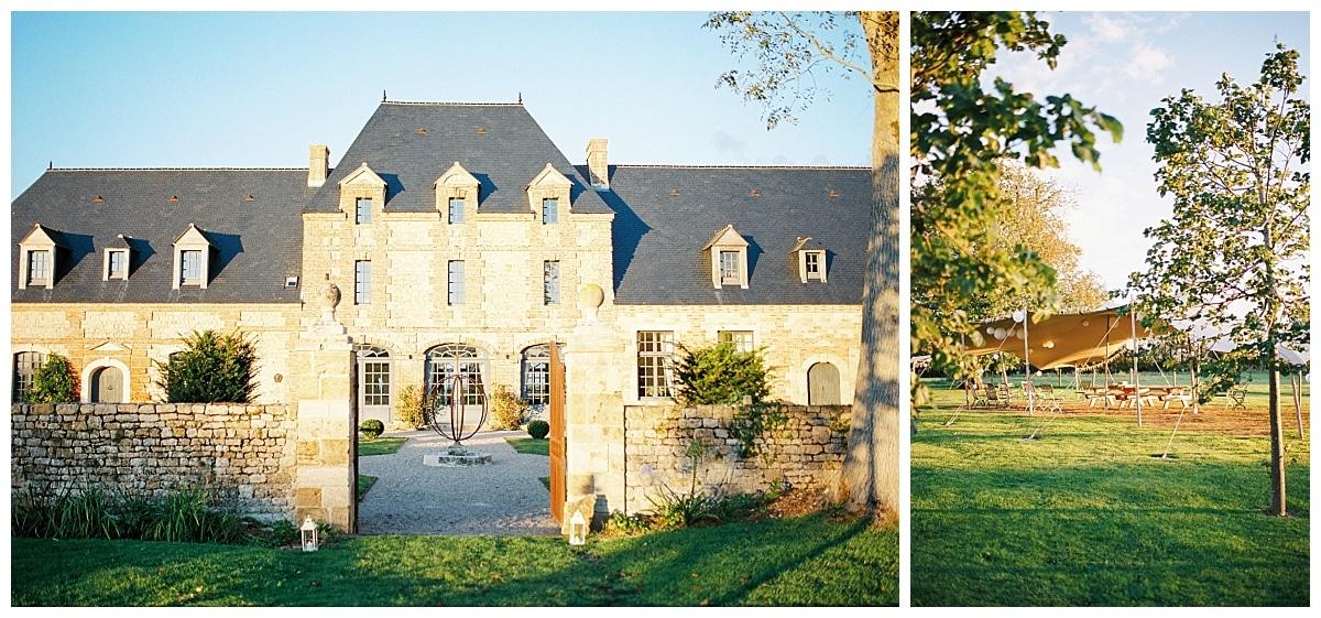 Photographe de mariage professionnel - la façade d'un domaine de Mariage, un manoir et ses jardins au coucher du soleil
